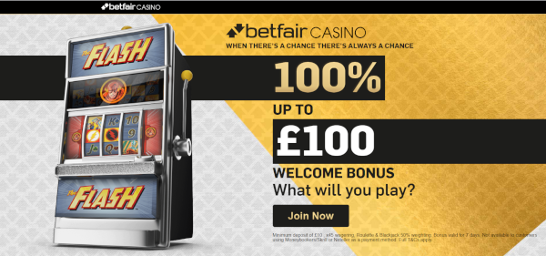 Betfair Casino £100 bonus 100% offer